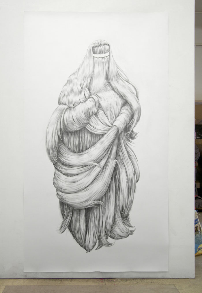 Julie Chovin shaggy shadow, drawing pencil on paper. 1,70 x 1,10 m, 2011