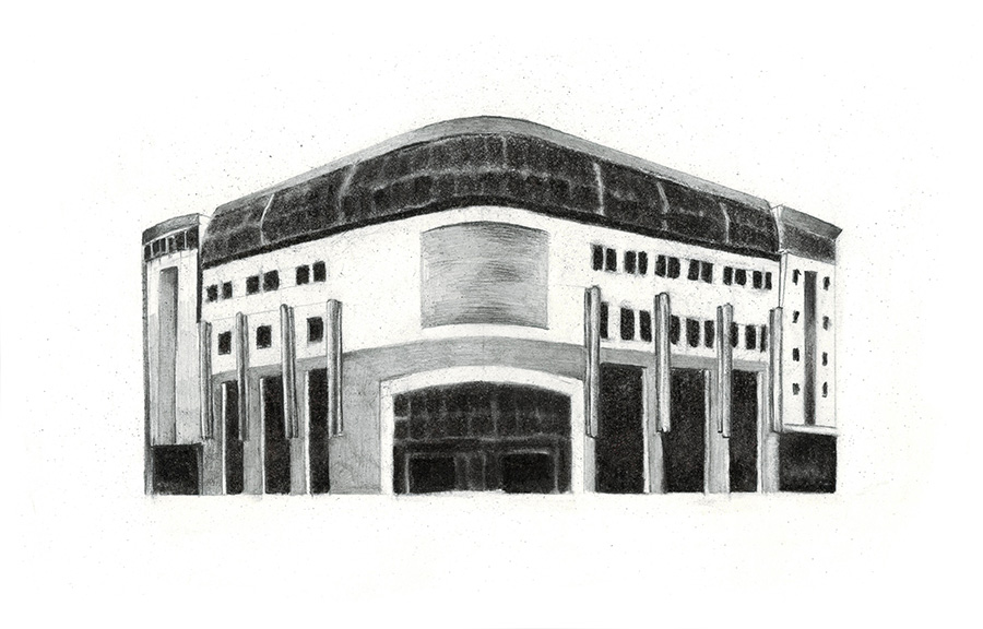 Post-Palace, Kupiec Poznanski Study of shopping mall. Drawing, charcoal and lead pencil on paper, 18 x 29 cm, May 2016.