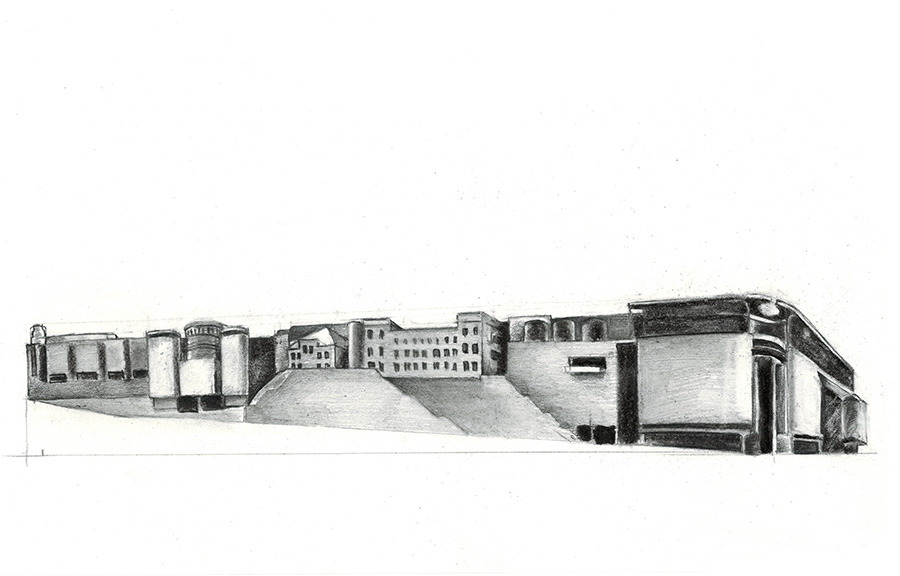 Post-Palace, Stary Browar Study of shopping mall. Drawing, charcoal and lead pencil on paper, 18 x 29 cm, May 2016.