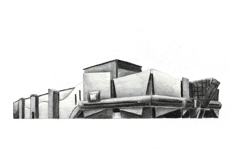 Post-Palace, Platza-Poznan Study of shopping mall. Drawing, charcoal and lead pencil on paper, 18 x 29 cm, May 2016.